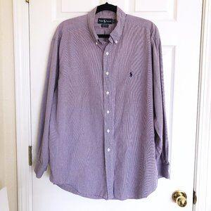 Ralph Lauren Purple White Gingham Shirt 17 34/35